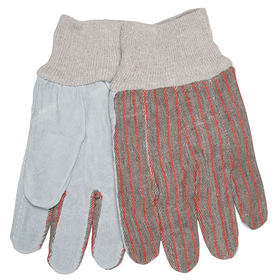Clute Pattern Gloves w/Knit Wrist, Unlined Palm, Large