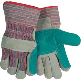 """C"" Shoulder Industry Grade Gloves, Economy, Jointed Double Palm, 2 1/2"" Safety Cuff, Red/Gray Stripe, Large"