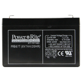 "Exit Sign Battery, 6""x3.75""x1.375"", 6V, 7AH"