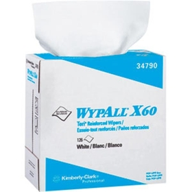 "Wypall X60 Wipers, 9.1"" x 16.8"", White, Pop-Up Box , 10 BX/126 EA"