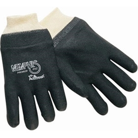 Memphis Premium Black PVC Gloves, Knit Wrist, Interlock, Single Dip Smooth Finish