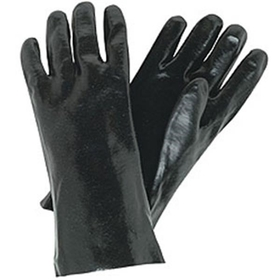 "Industry Standard Single Dipped Black PVC Gloves w/Interlock Lining, 12"" Gauntlet, Smooth Finish"