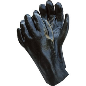 "Industry Standard Single Dipped Black PVC Gloves w/Interlock Lining, 12"" Gauntlet, Rough Finish"