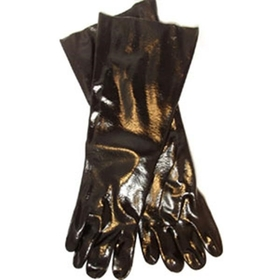 "Industry Standard Single Dipped Black PVC Gloves w/Interlock Lining, 18"" Gauntlet, Smooth Finish"