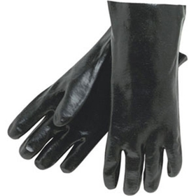 "Memphis Premium Black PVC Gloves, 14"" Gauntlet, Interlock, Single Dip Smooth Finish"