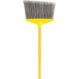 "Angle Broom w/1"" dia Vinyl Coated Metal Handle and Flagged Polypropylene Fill"