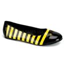 Funtasma BEE-16 - Bumble Bee Ballet Flat , Black / Yellow Patent