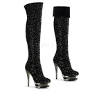 "Pleaser FASCINATE-3010 - 6"" Stiletto Heel, 1 1/2"" Dual Pf Knee Boot"