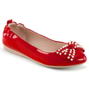 Pin Up Couture IVY-09 Red Pat, Pointed Toe Foldable Ballet Flats w/ Pearl Embellished Bow Detail At Toe<Br>
