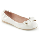 Pin Up Couture OLIVE-03 Wht Pat Round Toe Foldable Ballet Flats w/ Elasticated Heel and Bow Detail Atop Vamp