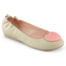 Pin Up Couture OLIVE-05 Cream Faux Leather Round Toe Foldable Ballet Flats w/ Elasticated Heel and Heart Adornment At Toe