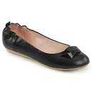 Pin Up Couture OLIVE-08 Blk Faux Leather Round Toe Foldable Ballet Flats w/ Elasticated Heel and Geometric Adornment At Toe