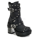 """Demonia SINISTER-201 - 3 1/2"""" Chromed Abs Heel, 1 1/2"""" Moulded Pu Pf Boot"""
