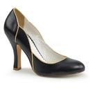 """Pin Up Couture SMITTEN-04 4"""" Heel   Thick Heel Pump W/ Wavy Gold Trim Topline"""