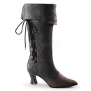 "Funtasma VICTORIAN-128 - 2 3/4"" Heel Mid-Calf Pull-On Boot with Faux Side Lace"