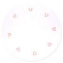 FAVOR TULLE 9IN. ROUND WHT W/HEARTS PINK