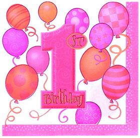 FIRST BIRTHDAY GIRL LUNCHEON NAPKIN
