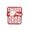 FOIL CONGRATS GRAD DECORATION RED 13IN.
