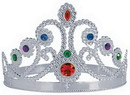 QUEENS TIARA PLASTIC JEWELED SILVER