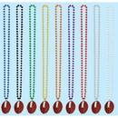 BEADS W/FOOTBALL MEDALLION - SILVER
