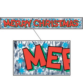 METALLIC MERRY CHRISTMAS BANNER (5')