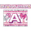 ITS A GIRL METALLIC FRINGED BANNER (5')