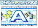 IT'S A BOY METALLIC FRINGED BANNER (5')