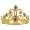QUEENS TIARA PLASTIC JEWELED GOLD