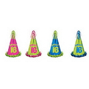 FRINGED FOIL SWEET 16 BIRTHDAY PARTY HAT