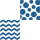 CHEVRON/DOTS-ROYAL BLUE BEVERAGE NAPKIN