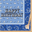 317386 Blue Bandana Cowboy Bday Lunch Napkin