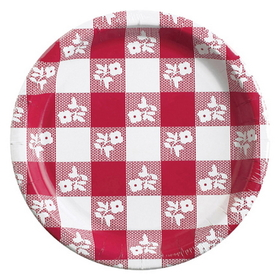 RED GINGHAM 7IN. PAPER PLATE (25 CT.)