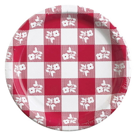 RED GINGHAM 10IN. PAPER PLATE (8 CT)
