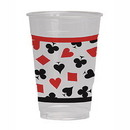 CARD NIGHT PRINTED PLASTIC CUPS CLEAR