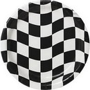 BLACK & WHITE CHECK DESSERT PLATE 8/PKG