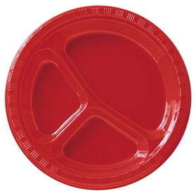 "10"" RED COMPARTMENT PLASTIC PLTE"