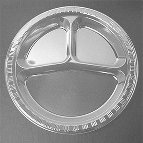 "10"" CLEAR DIVIDED PLASTIC PLATE"