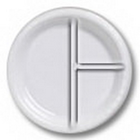 "10"" WHITE DIVIDED PLASTIC PLATE"