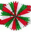 RED WHITE & GREEN TISSUE FAN INCH