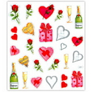 ROSES, BUBBLY & LOVE PRISMATIC STICKERS