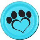 DOG LOVE BLUE DESSERT PLATE(8/PKG)