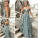 Elegant V-neck Strapless Empire Waist Beaded Evening Dress with Ruffles, 38837
