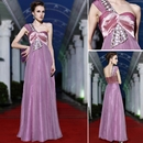 Women's One Shoulder Beaded Formal Gown Prom Dress with Drape Detail, 38864