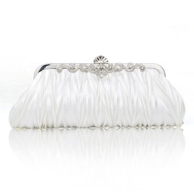 TopTie Pleated Satin Clutch, Ivory Evening Handbag, Gift Idea