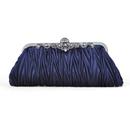 TopTie Pleated Satin Clutch, Dark Blue Evening Handbag, Gift Idea