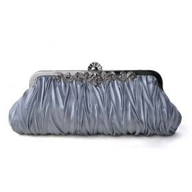 Pleated Satin Clutch, Silver Evening Handbag, Gift Idea