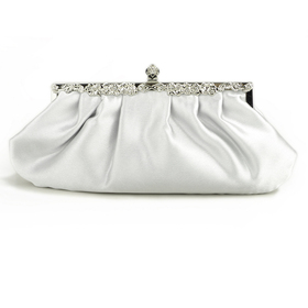 TopTie Silver Evening Handbag, Simple Style Satin Clutch, Gift Idea