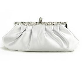 TopTie Silver Evening Handbag, Simple Style Satin Clutch, Gift Idea