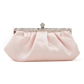 TopTie Champagne Pink Tone Evening Handbag, Satin Clutch, Gift Idea
