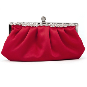 TopTie Red Evening Handbag, Simple Style Satin Clutch, Gift Idea